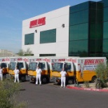 Techs and trucks in front of George Brazil headquarters in Phoenix, AZ