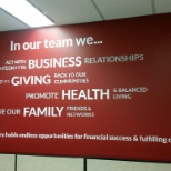 "The ""Values Wall"" in The Headhunters branch in Vancouver"