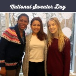 Employees supporting National Sweater Day