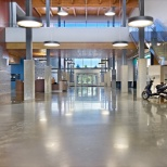 Polished concrete flooring in the main entry of a sport's complex