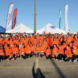 Bay Area Shutterfly employees wear their orange with pride at the JPMorgan Corporate Challenge.