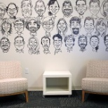 Austin office entry hall caricatures