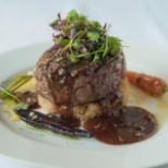 Grass Fed Hickory Grilled Beef Filet with Roasted Shallot Cous Cous Bourgogne Demi Glase and Amerett