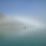 morning canoeing and kayaking as the fog clears