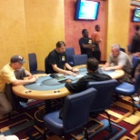 Dealing the final table Omaha hi lo.