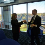 The Cruise Web, Inc photo: Celebrating our new office with a champagne toast!