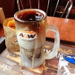 most famous cold root beer served in a nice cold A&W mug.