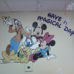 Mickey and the Gang cut-out mural in Buses Breakroom.