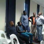 brainstorming with co-workers at Absa Bank