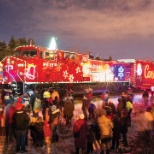 A welcoming Calgary crowd enjoys the Holiday Train's bright lights.