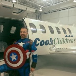 Captain Mike Dall, one of the jet pilots for Cook Children's Teddy Bear Transport.