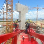 installing counter  weights to 42 meter tower boom tank b glng