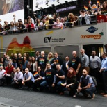 EY employees celebrate 2019 World Pride on a New York City double-decker sightseeing bus