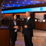 JPMorgan Chase photo: Chase employee at the branch