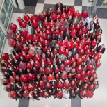 Wearing red on National Wear Red Day for heart disease awareness