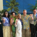 Regional Medical Center of San Jose photo: Our COO, VP of Marketing, ACNO, CFO and CEO pose at our luau event!