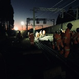 Replacing rail lines after a train derailed and messed up the old ones
