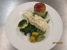 Poached Salmon on wilted Rapini