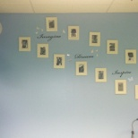 Wall of clients pictures.
