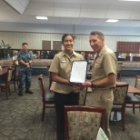 Receiving advancement to 3rd class petty officer