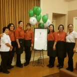 Atria Valley View staff are recognized at their Atria Rewards party.