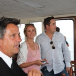Hornblower Cruises & Events photo: Captain Roy visits with a few VIP guests on Lord Hornblower in San Diego Bay