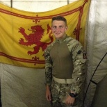 Photo was taken 3 months into being in Afghanistan where we had located a Scottish flag.