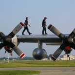 DRS Employees prepare a US Coast Guard C-130 for overhaul work