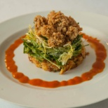 Fried Oyster Salad with Fall Greens Cornbread and Andoulli Bread pudding and Hot Sauce Vinaigrette