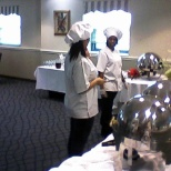 Students setting up a Buffet Lunch, a typical day in class.