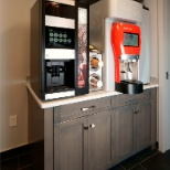 Our home office features a Coca-Cola Freestyle machine & gourmet coffee drink machine.
