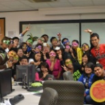 These are my co-workers and we're having our ''mask theme'' for the day.