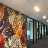 Each floor has a colorful theme and conference rooms named for math and science