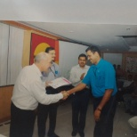 Receiving Hi Flier Award for Customer Service