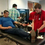 Donating blood at the office
