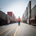 Walking through an intermodal yard.