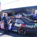 Me with FedEx race car and trailer