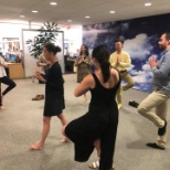 Slowing down with some yoga in the NYC office