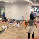 Weekly yoga class at ACV's HQ is a great workplace perk