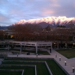looking north to Mt. Timpanogos over UVU center courtyard