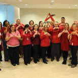 Employee-owners raised awareness of Heart Health Month by wearing red on Valentine's Day 2013.
