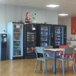 Big very clean staff room with lots of facilities eg fridges,microwaves,toasters,TV sofas