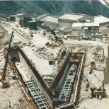 The conveyor reclaim tunnel during construction.