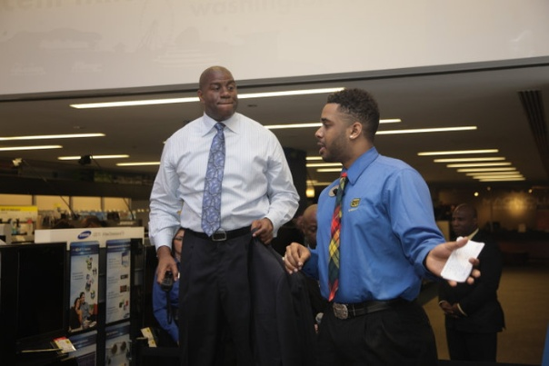 Me showing Magic Johnson how video games have integrated fitness activities