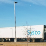 SYSCO photo: 48' loaded trailer with products to be delivered by 2 wheelcart down the ramp.