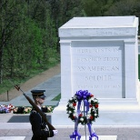 Tomb of the Unknown Soldier - W view with guard and wreath - Arlington National Cemetery - 2012