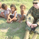 Visiting some local children, in East Timor, 2009.