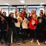 Supporting our Toronto Raptors in Raptor gear!