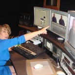 ZIVELO photo: Mindi Osborn assisting in the editing of a telephone commercial for AirWare's Brez