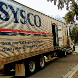 SYSCO photo: Side ramp. Driver parks in most convenient spot to ramp products into customers.